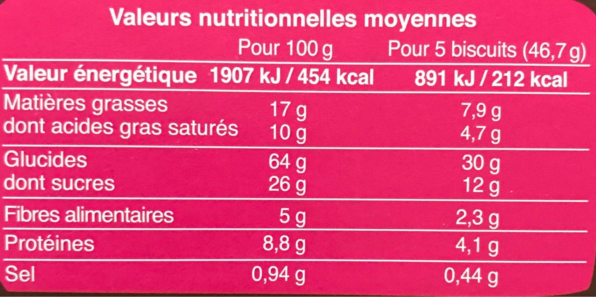 Petit beurre pépites de chocolat - Nutrition facts