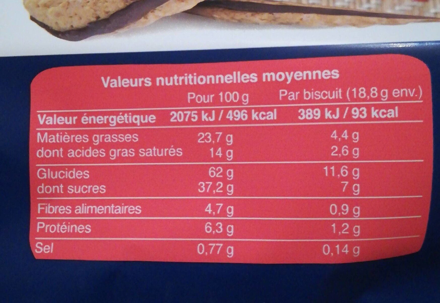 Galettes aux flocons d avoine - Valori nutrizionali - fr