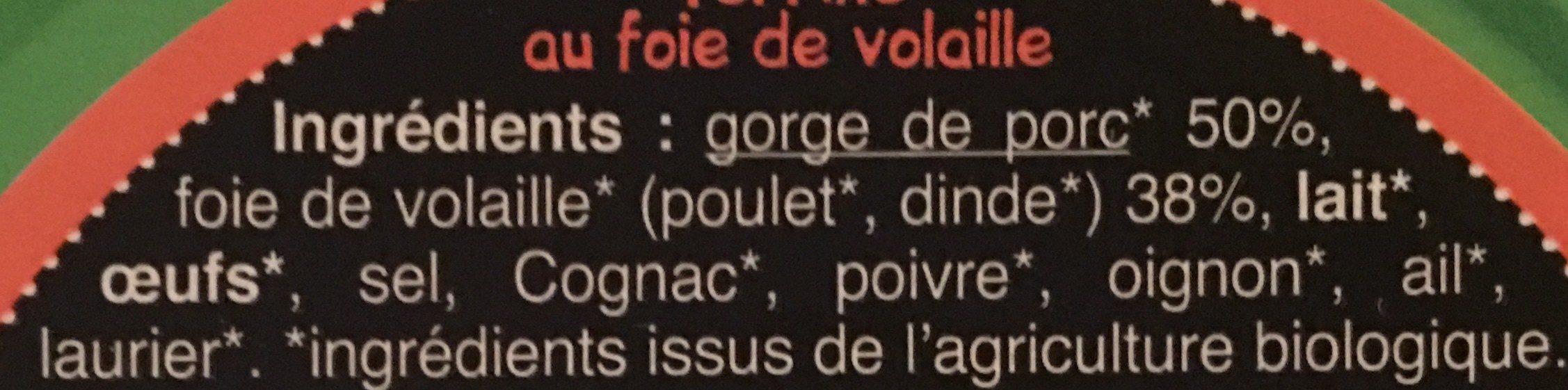 Terrine au foie de volaille - Ingrédients - fr