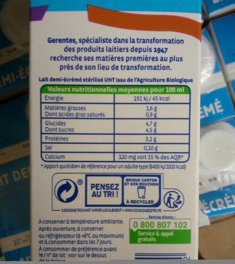 Lait demi-écrémé - Ingredients - fr