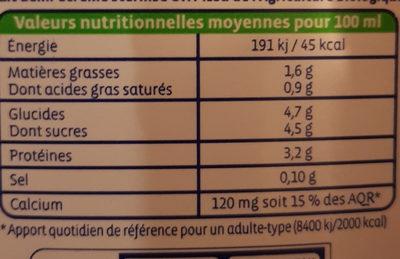 Lait de vache demi-écremé UHT - Informations nutritionnelles