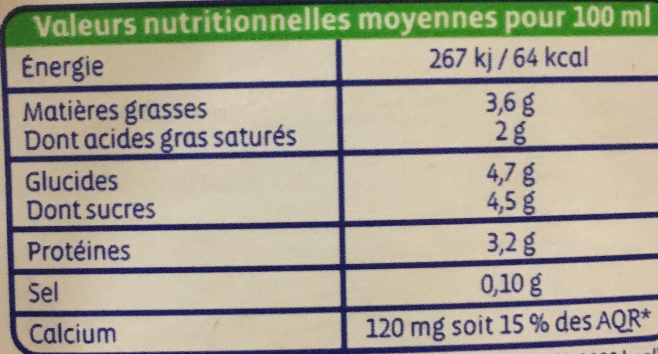 LAIT ENTIER de vache - Voedingswaarden - fr