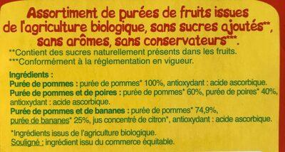 Purées de fruits - Ingrédients - fr