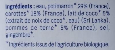 Velouté potimarron et lait de coco - Ingrédients - fr