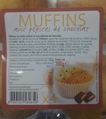 Muffins aux pepites de chocolat - 1