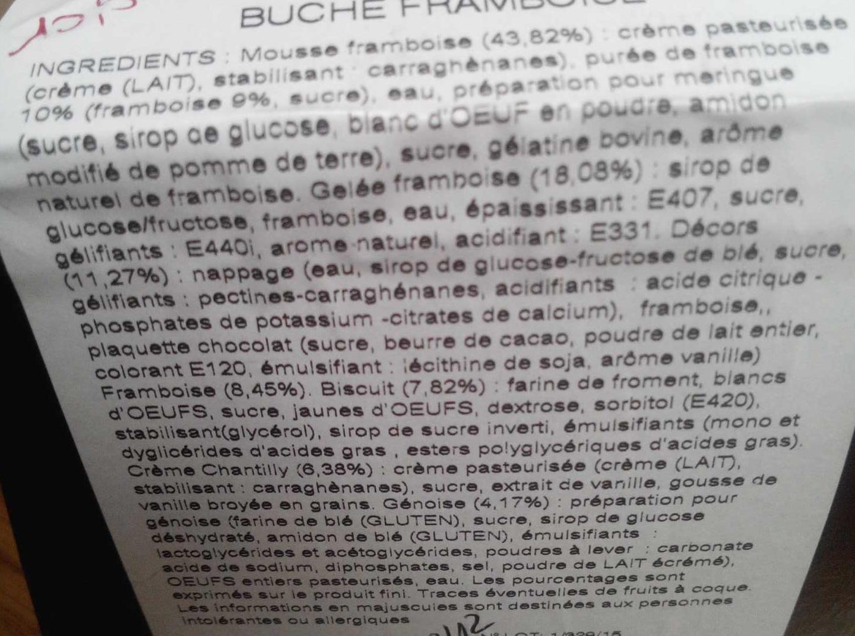 Bûche framboise - Ingredientes - fr