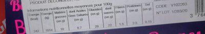 Bûche framboise - Informação nutricional - fr