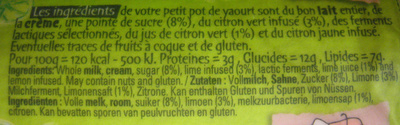 Petit pot de yaourt au citron vert - Nutrition facts - fr