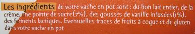 La vache en pot à la Vanille de Madagascar 1kg - Ingredients - fr