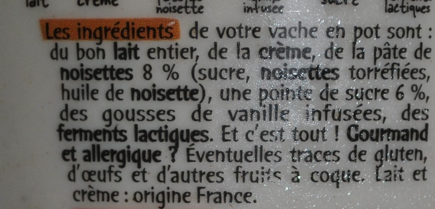 La Vache en Pot aux Noisettes - Ingredienti - fr