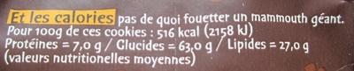 Petits cookies au chocolat et à la nougatine - Informations nutritionnelles - fr