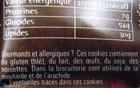 Super Cookies coeur fondant, au chocolat au lait et noisettes - Voedingswaarden
