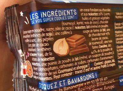 Super cookies coeur fondant au chocolat au lait et noisettes - Ingrédients - fr