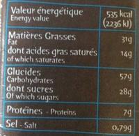 Super cookies coeur fondant au chocolat au lait et noisettes - Informations nutritionnelles - fr