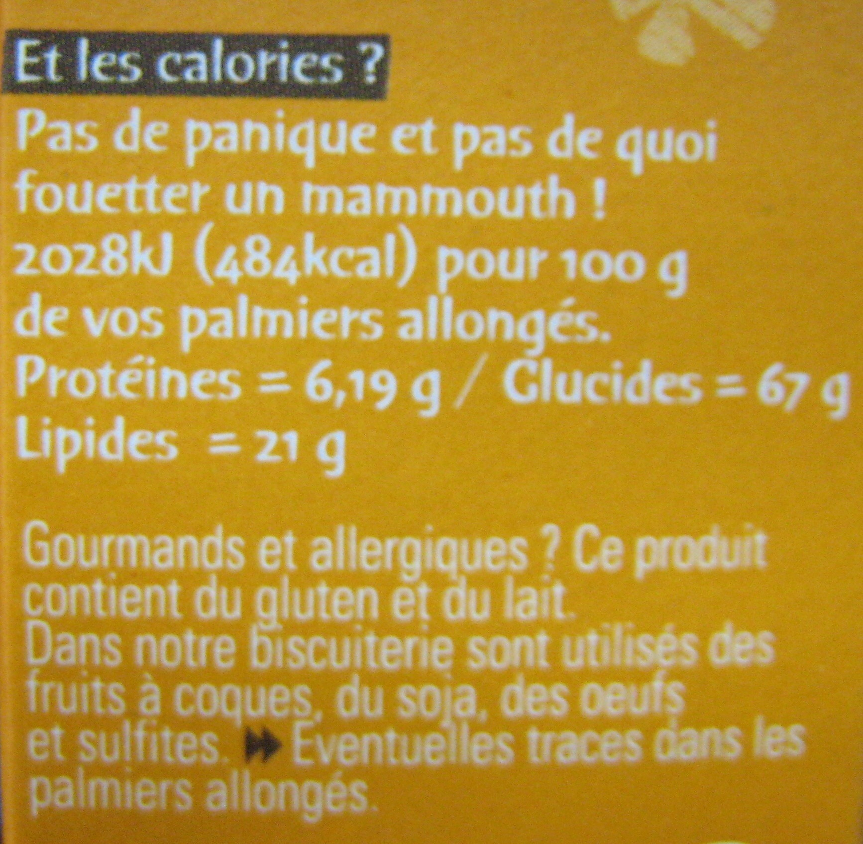 Palmiers allongés au sucre un peu caramélisé Michel et Augustin - Informations nutritionnelles
