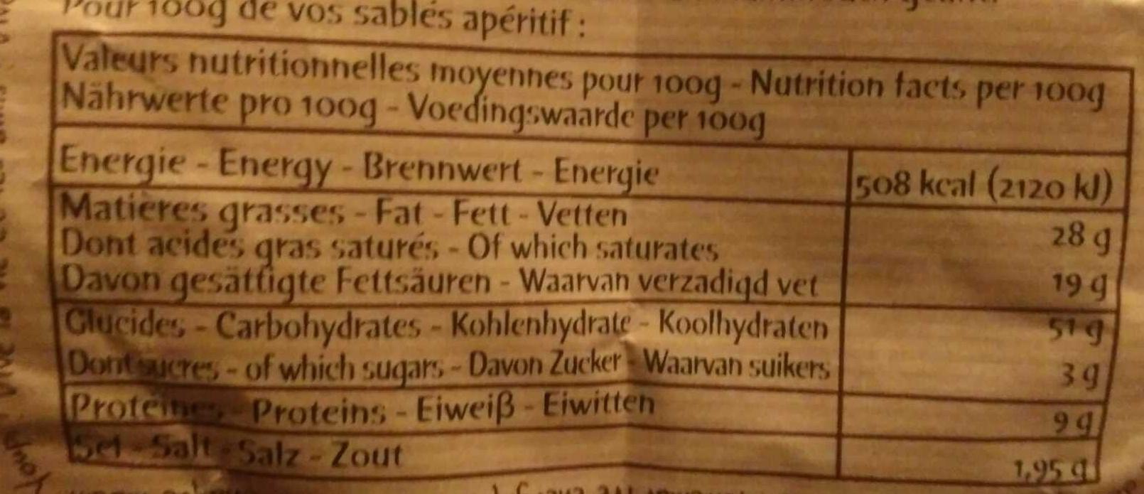 Petits sablés Beaufort - Nutrition facts - fr