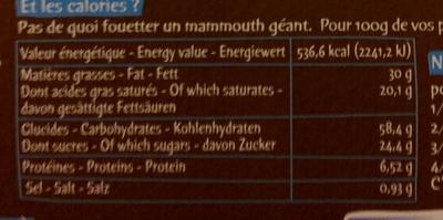 La pâte a tartiner - Voedingswaarden