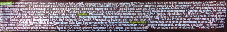 Petits Carrés à La Noisette Au Chocolat Au Lait Et éclat De Noisettes - Voedingswaarden - fr
