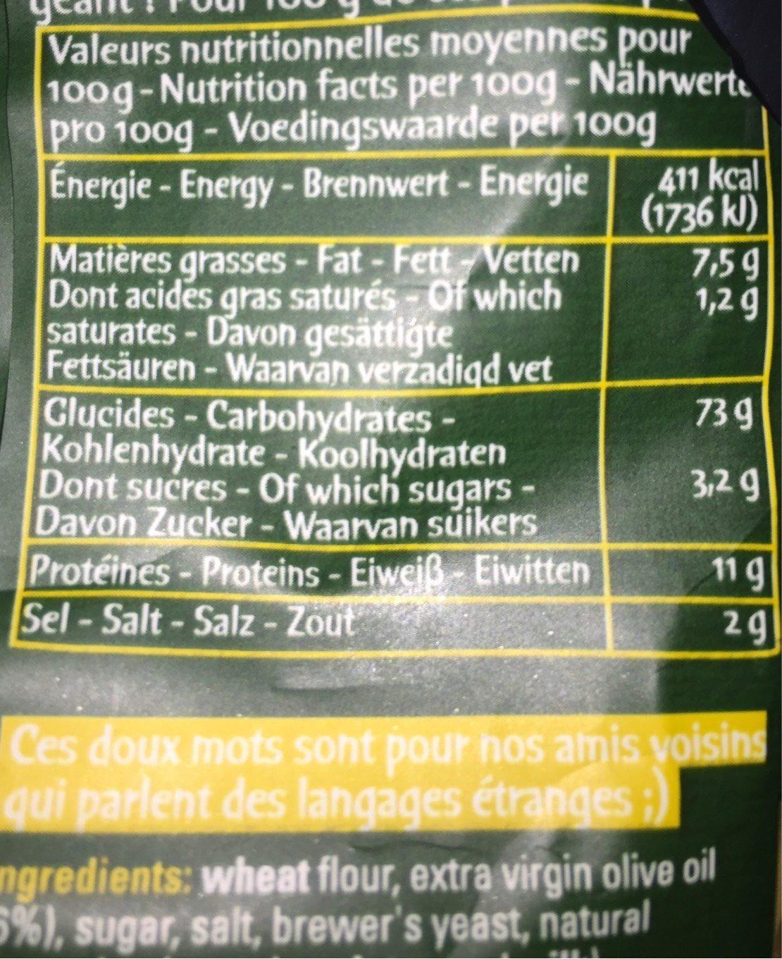 Pitas Huile D'olive Pointe De Sel - Nutrition facts