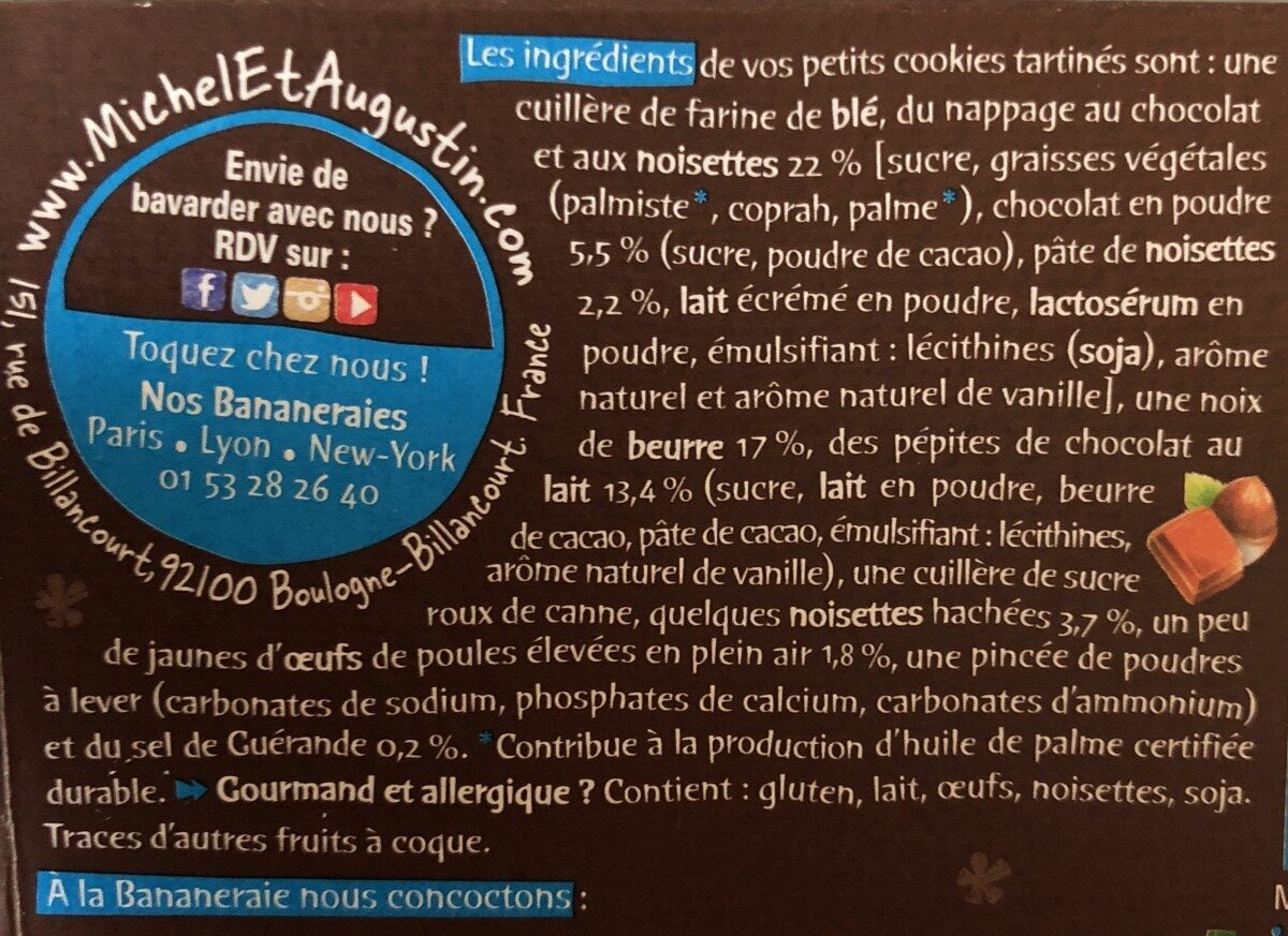 Petits cookies tartinés au chocolat et aux noisettes - Ingrediënten - fr