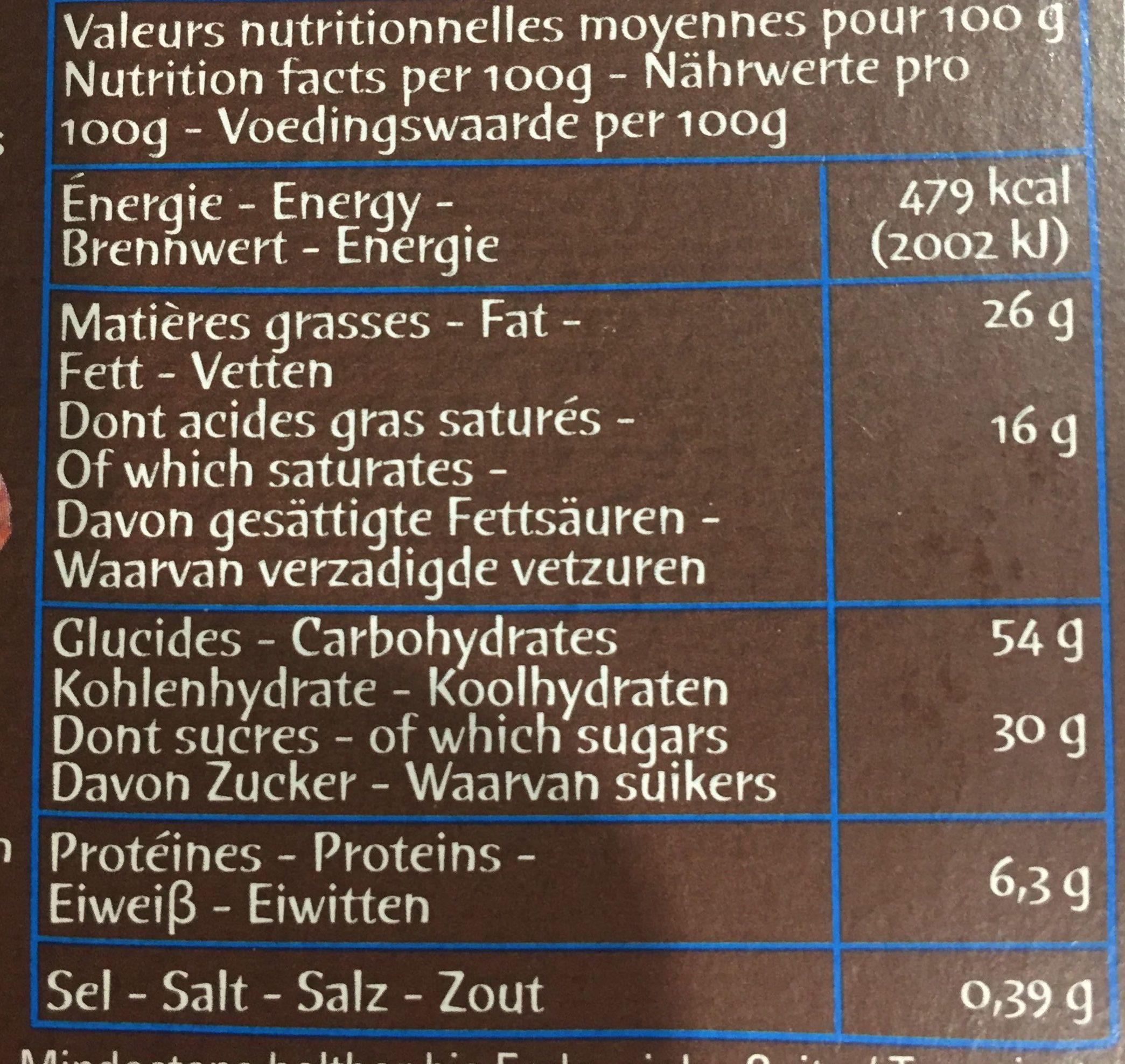 Petits cookies tartinés au chocolat et aux noisettes - Voedingswaarden - fr