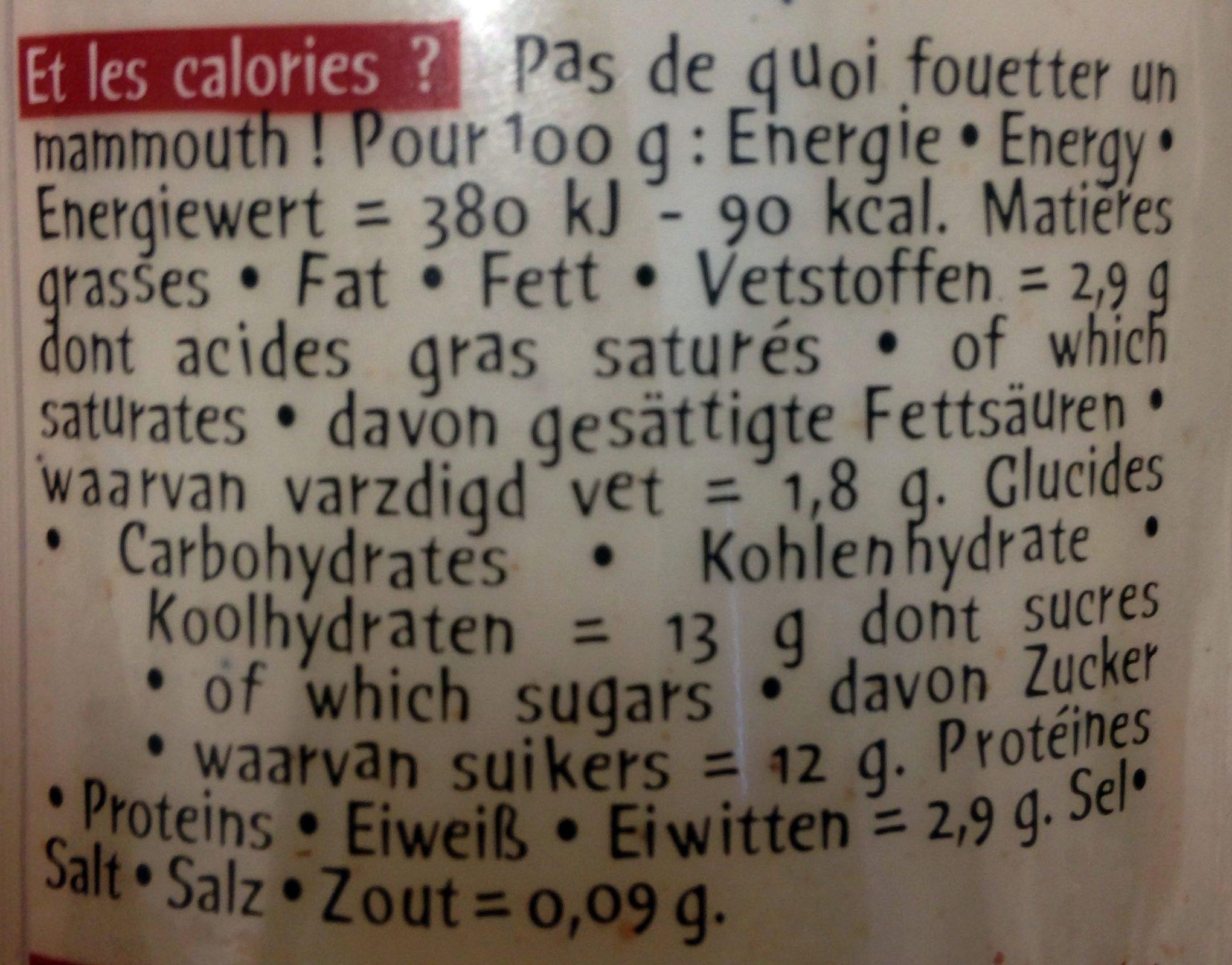 Vache à boire aux marrons - Valori nutrizionali - fr