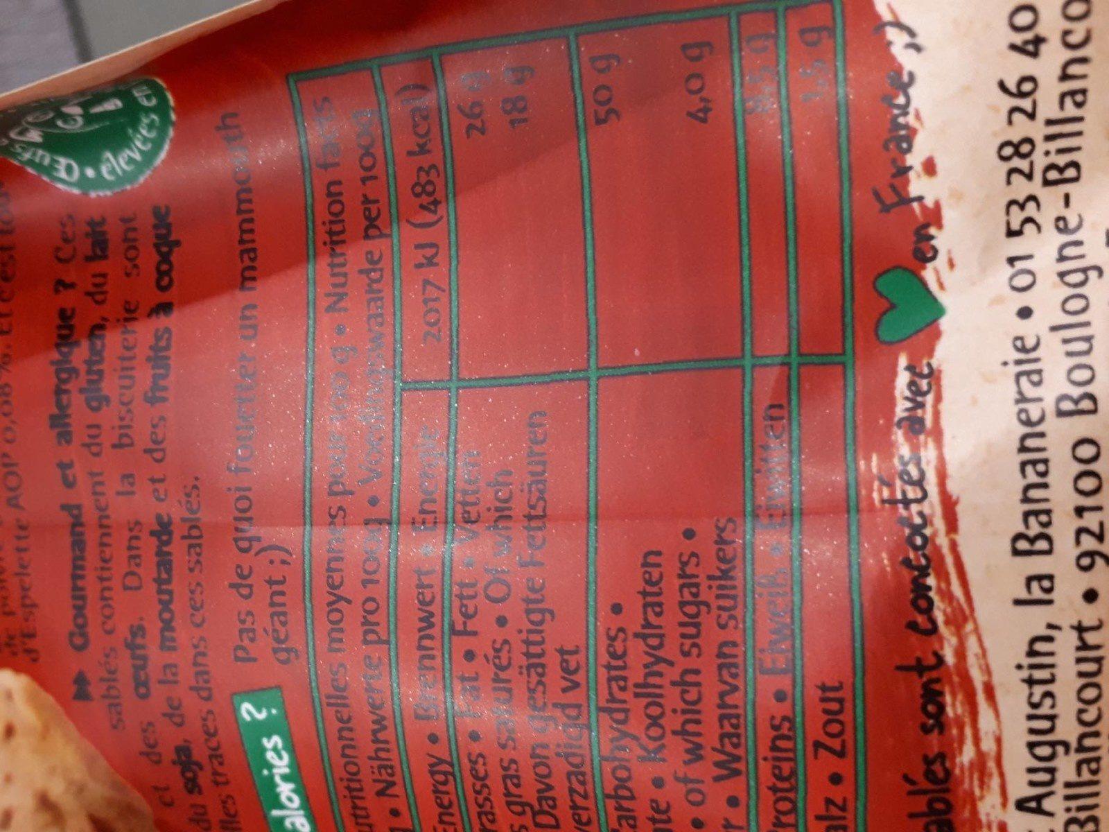 Sablés apéritif brebis tomates piment - Nutrition facts - fr