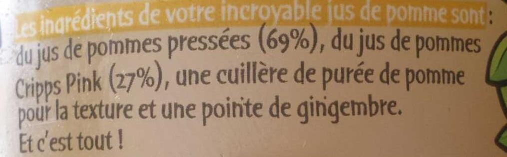 L'Incroyable Jus de Pomme Pointe de Gingembre - Ingrédients