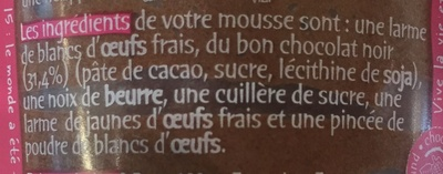L'incroyable mousse au chocolat noir - Ingrediënten