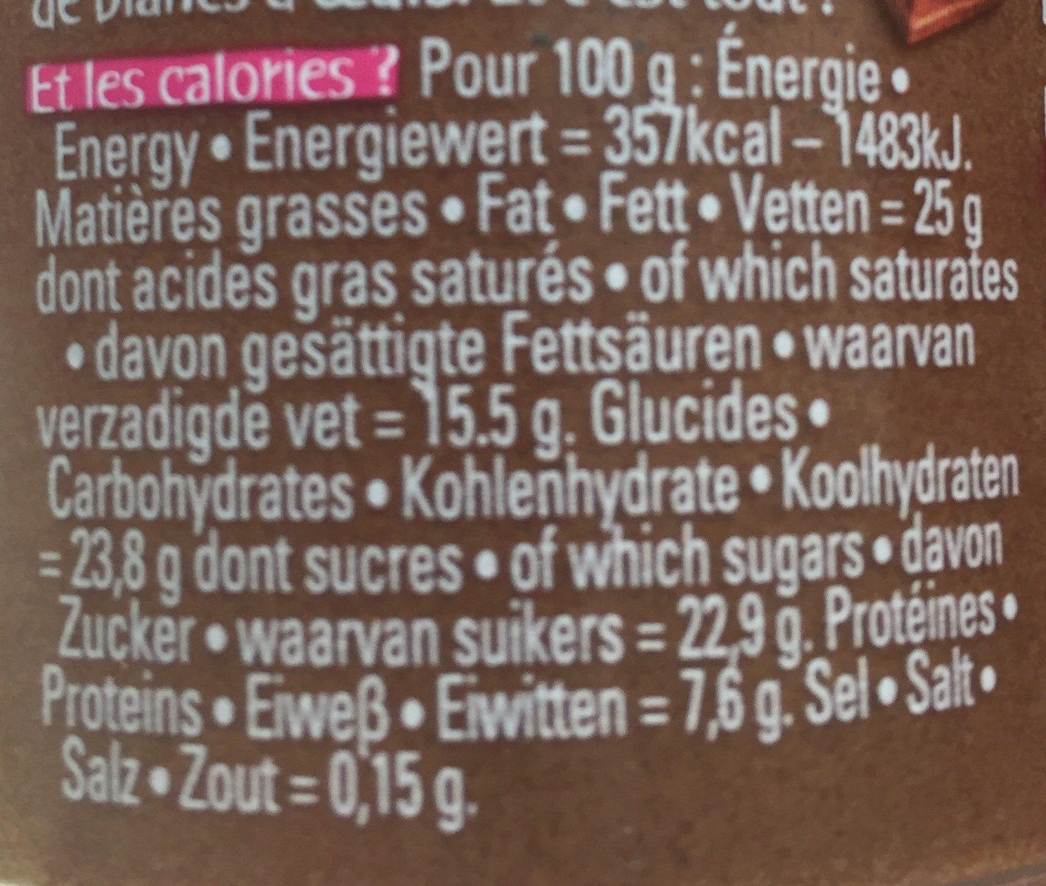 L'incroyable mousse au chocolat noir - Voedingswaarden