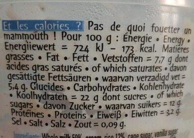 Riz au lait vanille de Madagascar 400g - Informations nutritionnelles - fr