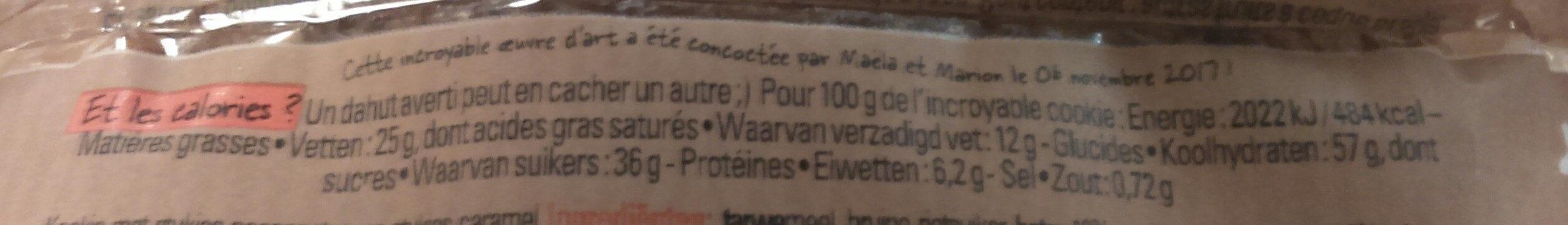 L'incroyable Cookie aux éclats de caramel et de noix de pécan - Informations nutritionnelles - fr