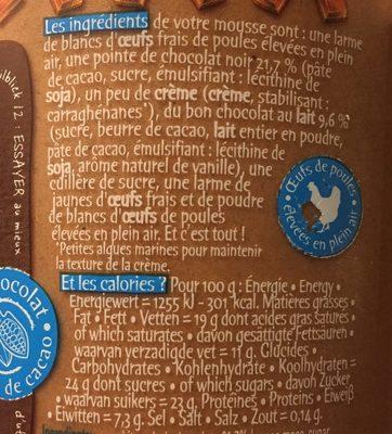 L'Incroyable Mousse au chocolat au lait - Ingrédients - fr