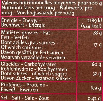 Petits cookies tartinés - Informations nutritionnelles - fr