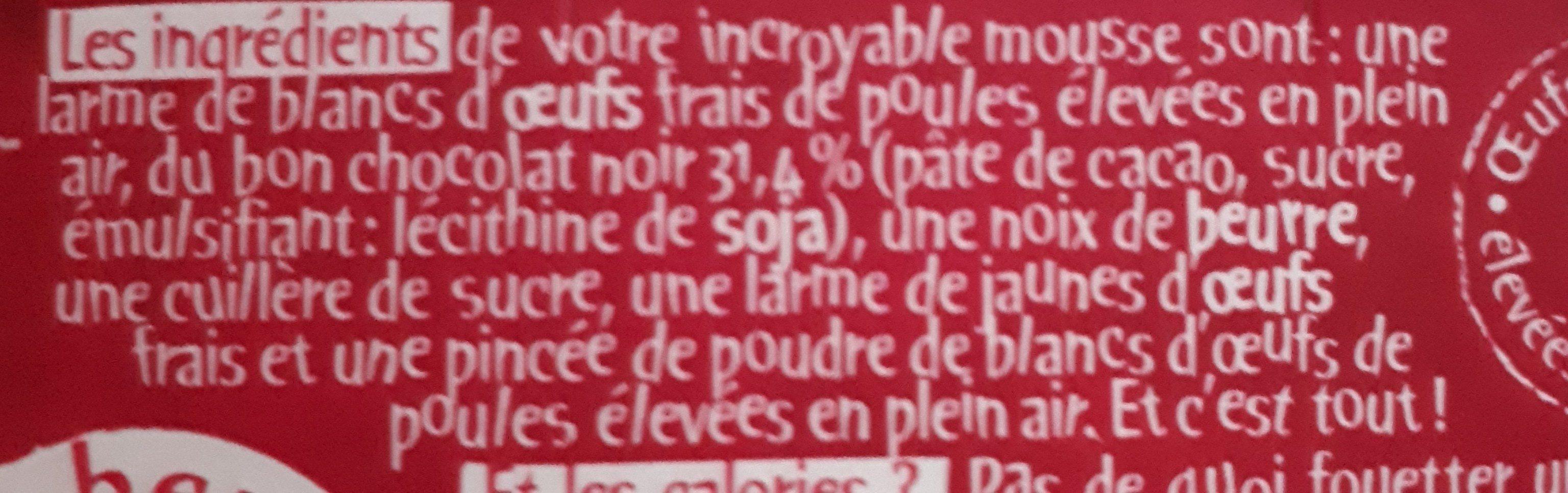 L'incroyable mousse - Chocolat noir - Ingredients - fr