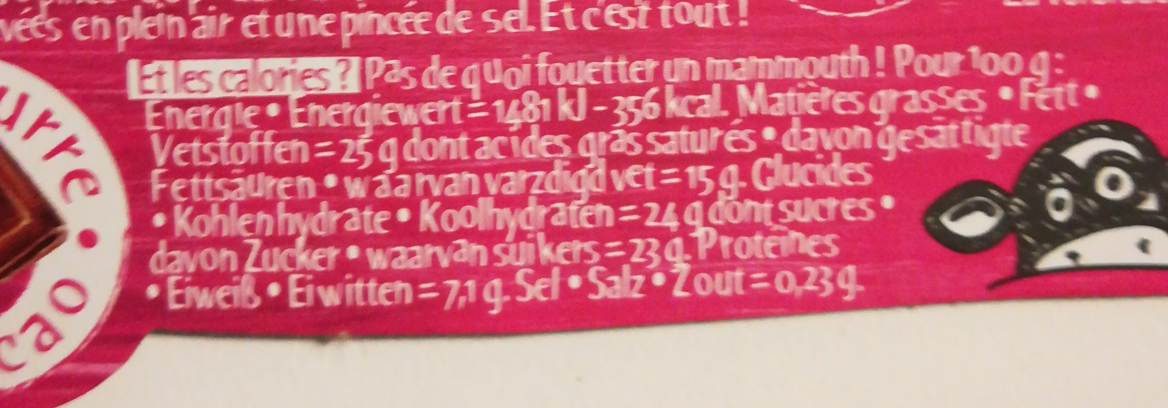 L'incroyable mousse - Chocolat noir - Nutrition facts - fr