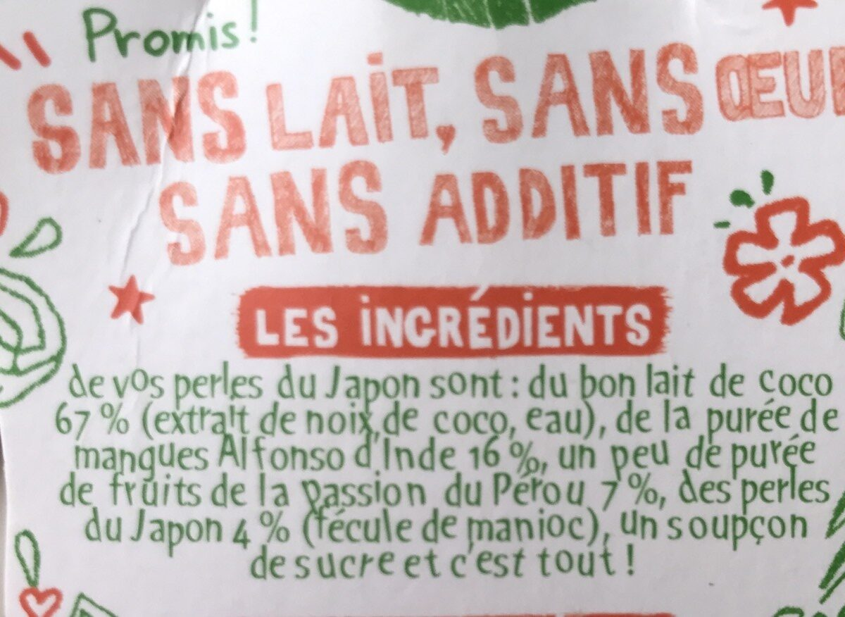 Perles Japon coco mangue passion 90g - Ingredients - fr