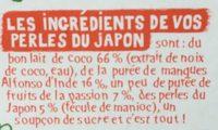 Perles du Japon coco mangue passion 2x90g - Ingredients - fr