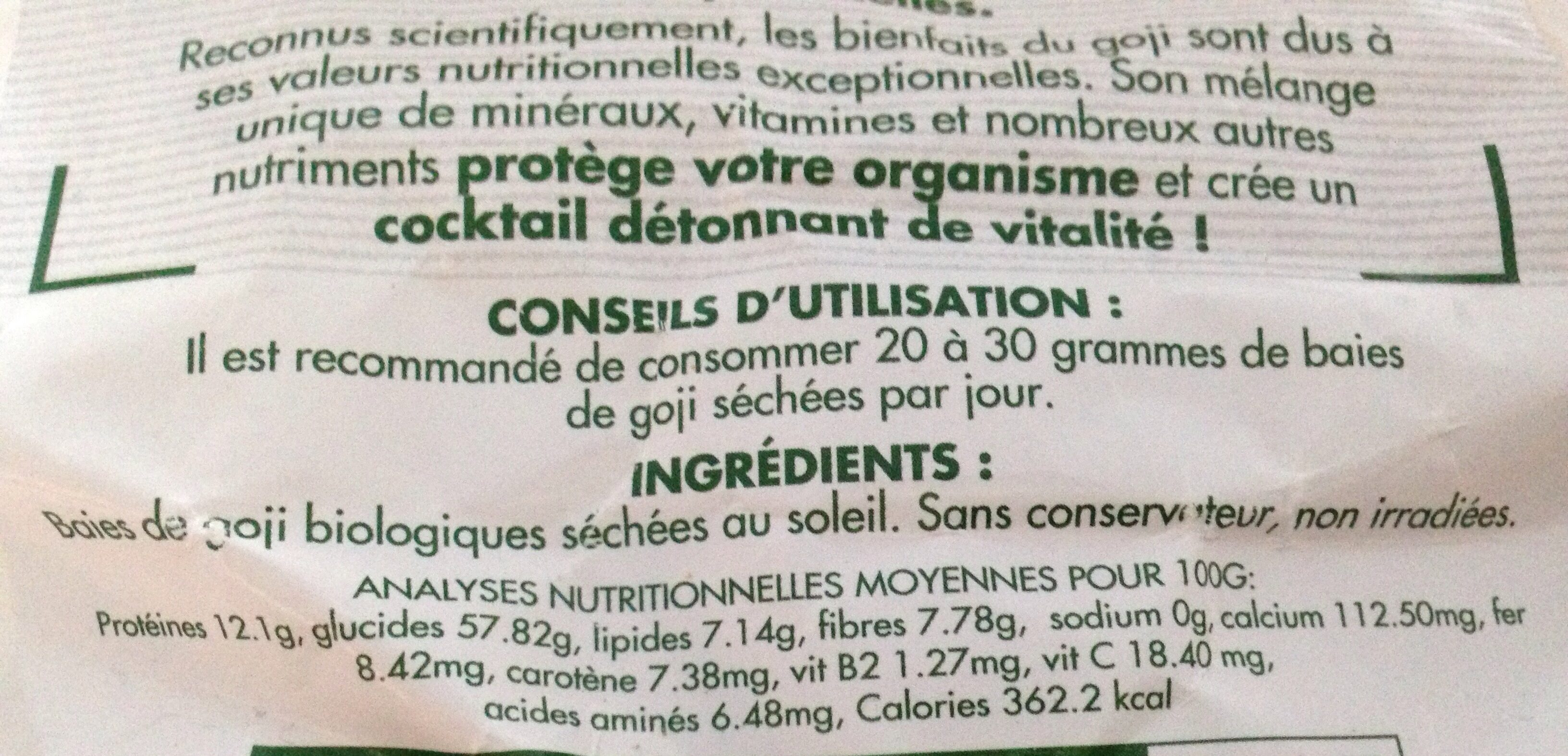Baies De Goji Bio - 1 KG - Comptoirs & Compagnies - Ingrediënten