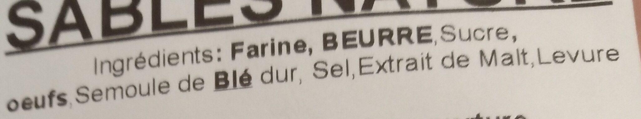 Sablés nature - Ingrédients - fr