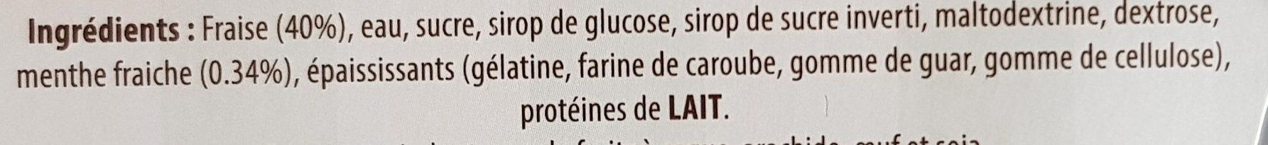 Sorbet fraise menthe MG Artisan Glacier en provence - Ingredients - fr