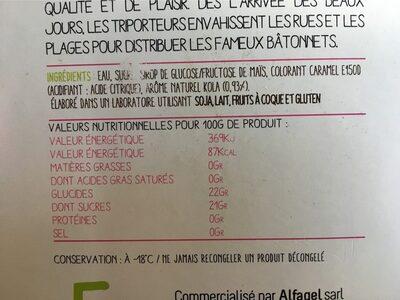 Bâtonnets à l'eau Pop'Polo Pac cola MAISON DE LA GLACE - Informations nutritionnelles