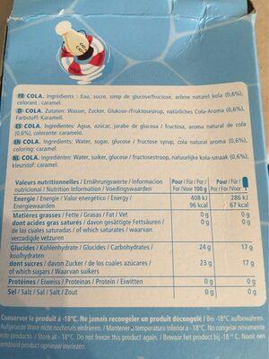 Bâtonnets à l'eau Pop'Polo Pac cola MAISON DE LA GLACE - Informations nutritionnelles - fr