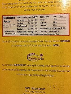 Dattes Deglet - Ingredients
