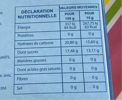 Assortiments 10 polos - Informations nutritionnelles - fr