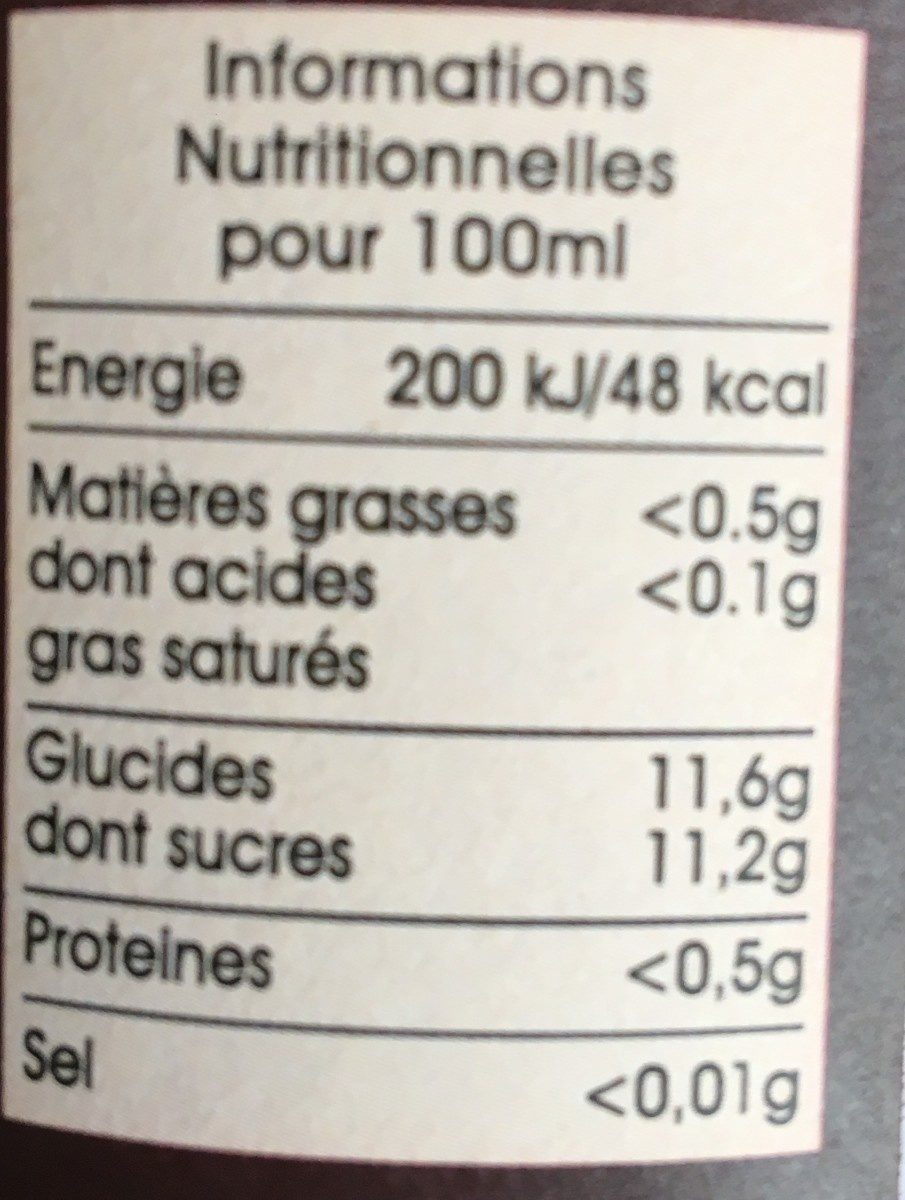 Boisson à la fraise - Informations nutritionnelles