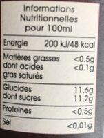 Boisson à la fraise - Informations nutritionnelles - fr