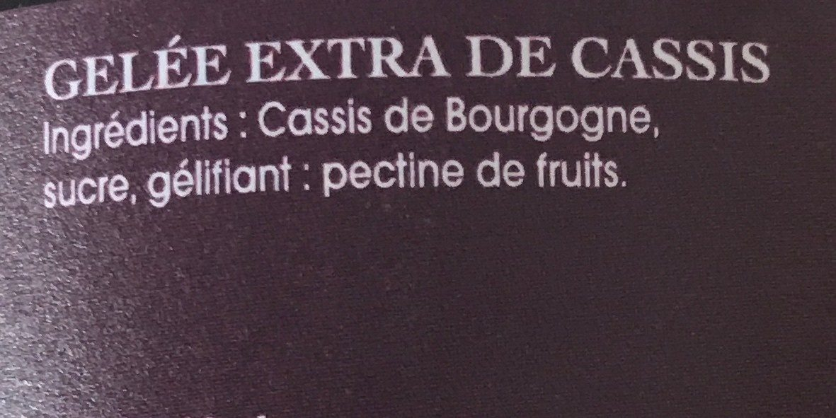 Gelee de cassis - Ingrédients