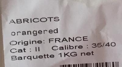 Abricots orangered (Calibre 35/40) - Ingrédients - fr
