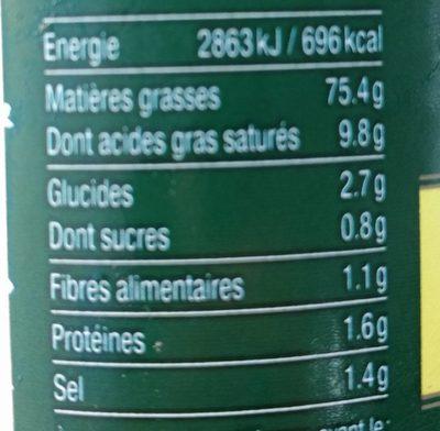 """Mayonnaise à la moutarde de Dijon """"Originale"""" - Nutrition facts - fr"""